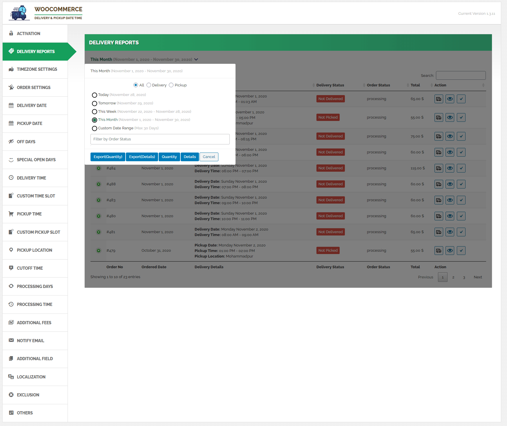 Delivery Reports Tab