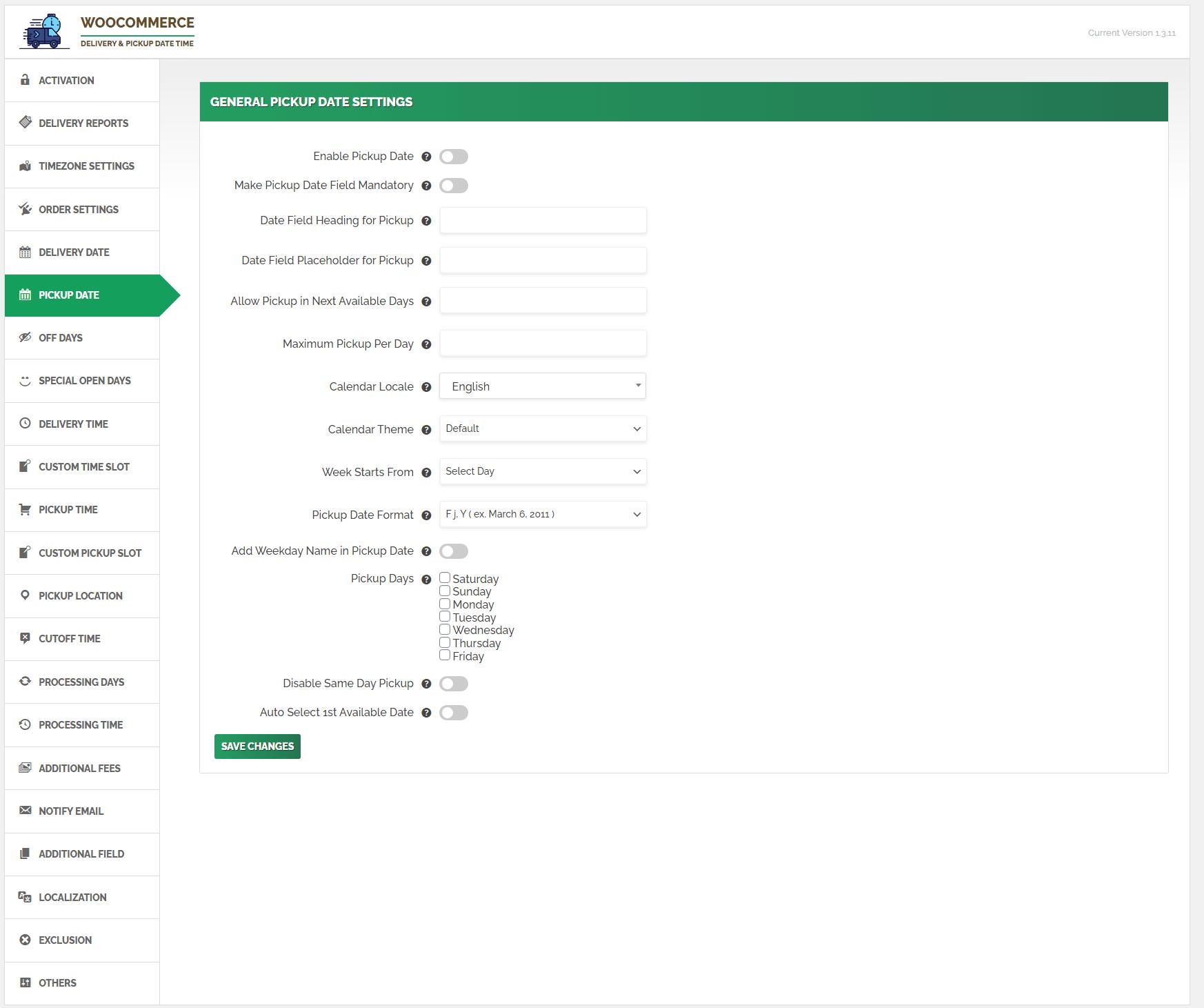 Pickup Date Settings